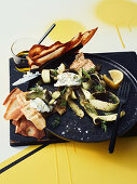 Zucchini skins, goats cheese and toasted pita bread