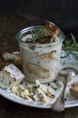 Mushroom soup with blue cheese