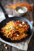 Carrot and apple rösti with walnuts and horseradish cream