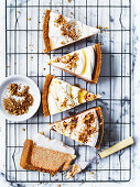 No-bake carrot cake topped with cream and chopped walnuts