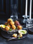 Fried Barramundi fish balls with a parsley mayonnaise