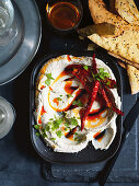 An aubergine dip made from grilled aubergines with pepper oil and chillis