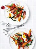 Sweet potato salad with sage, bacon and soft-boiled eggs