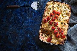Cauliflower and caramelised onion lasagne