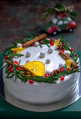 Christmas cake with candied fruit and spices