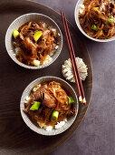 Rindfleisch mit Reisnudeln in süsser Sojasauce auf Reis