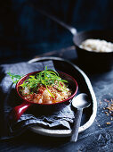 Garlic, ginger and sesame brown rice