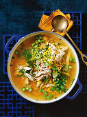 Chicken, sweetcorn and asparagus soup