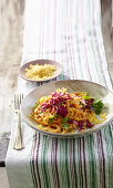 Corn Wires with Roasted Sweet Pepper Cream