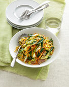 Crunchy wok vegetables with Chinese cabbage and bacon