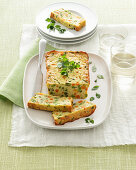 Potato cake with peas, green beans and carrots