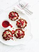 Hazelnut Cups with raspberries