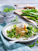 Linguine with Snow Peas and Poached Eggs