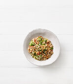 Buckwheat risotto with spinach and pine nuts
