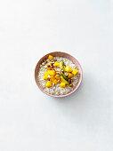 Chia and mango oats with hazelnuts