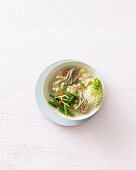 Miso bean soup with soba noodles