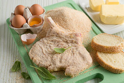 Ingredients for making breaded pork chops