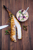 Grilled smoked monk fish with pepper mayonnaise