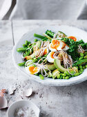 Broccolini and sobanoodle salad with wasabi dressing and ginger salt