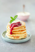 Sveler, kefir pancakes with cranberries and sour cream (Norway)