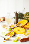 Fresh Pineapple and Passionfruit Being Prepared for a Drink