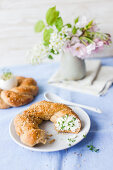 Savoury yeast dough wreath for Easter