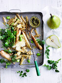 Pasta with almond and walnut pesto, pears and broad beans