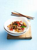 Lammfleisch mit Curry und bunten Paprikaschoten