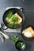 Beer soup with bread, onions and parsley