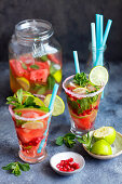 Home made limonade with watermelon and pomegranate seeds