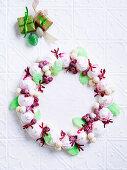 Raspberry meringue Christmas wreath