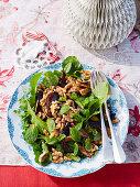 Rocket, eggplant and prickle and walnut salad
