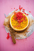 Coconut cheesecake with passion fruit
