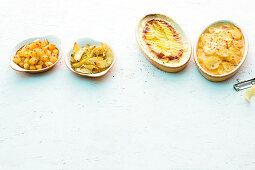 Quick potato dishes: chilli and oregano potatoes, potato gratin and mustard potatoes