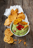 Corn and chili chips with guacamole