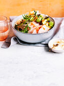 King fish poke bowl with pickled ginger ponzu