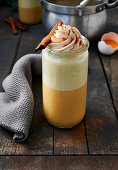 Eggnog topped with cream
