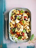 Pasta salad with buffalo mozzarella and mackerel fillets