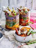 Zatar chickpeas and vegetable salad