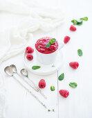 Raspberry sorbet ice-cream with mint leaves