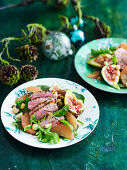 Duck, Ruby red grapefruit and fig salad
