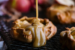 Spelt and apple galettes with butterscotch sauce