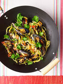 Stir-Fried Sweet Chilli Mussels and Hokkien Noodles