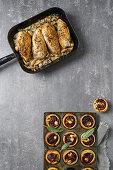 Roast chicken with creamy mushrooms