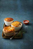 Chicken and mushroom pot pies