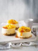 Mini ricotta cheesecake with orange compote