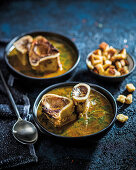 Vegetable and marrow soup with croutons
