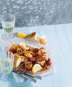 Garlic prawns and chorizo (South Africa)