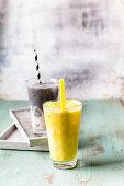 Vegan Golden milkshake and a charcoal milkshake