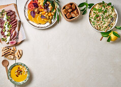 Four dishes with garden vegetable